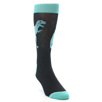Image of Black Aqua T-Rex Men's Dress Socks (side-1-front-02)