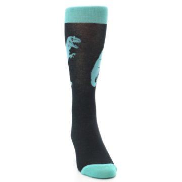 Image of Black Aqua T-Rex Men's Dress Socks (side-1-front-03)