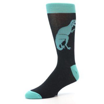 Image of Black Aqua T-Rex Men's Dress Socks (side-2-09)