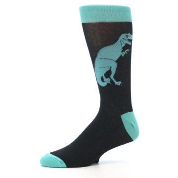 Image of Black Aqua T-Rex Men's Dress Socks (side-2-10)