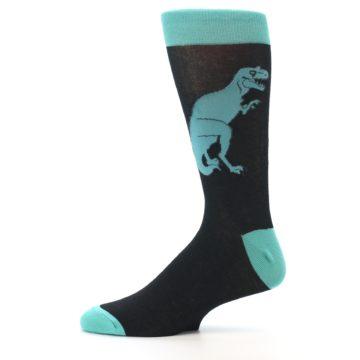 Image of Black Aqua T-Rex Men's Dress Socks (side-2-11)