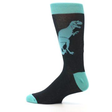 Image of Black Aqua T-Rex Men's Dress Socks (side-2-12)