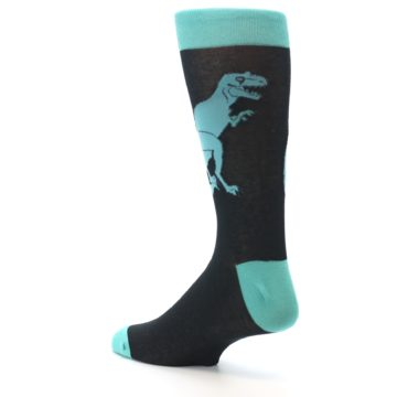Image of Black Aqua T-Rex Men's Dress Socks (side-2-back-14)