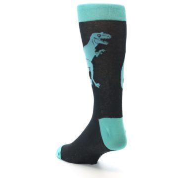 Image of Black Aqua T-Rex Men's Dress Socks (side-2-back-15)