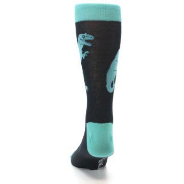 Image of Black Aqua T-Rex Men's Dress Socks (back-17)