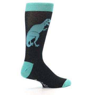Image of Black Aqua T-Rex Men's Dress Socks (side-1-23)
