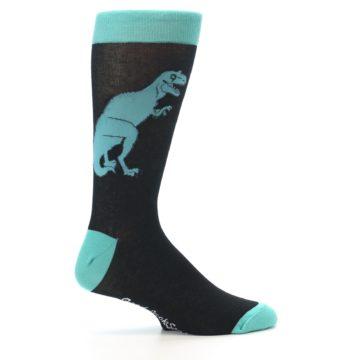 Image of Black Aqua T-Rex Men's Dress Socks (side-1-24)