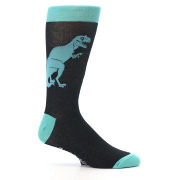 Image of Black Aqua T-Rex Men's Dress Socks (side-1-25)