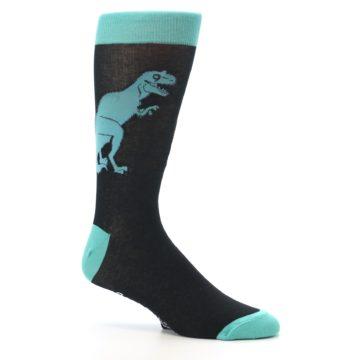 Image of Black Aqua T-Rex Men's Dress Socks (side-1-26)