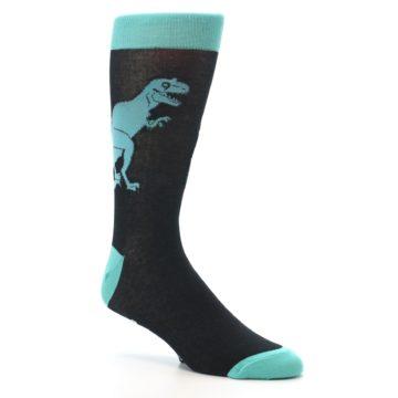 Image of Black Aqua T-Rex Men's Dress Socks (side-1-27)