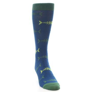 Image of Blue Green Fish Bones Men's Dress Socks (side-1-front-03)