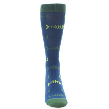 Image of Blue Green Fish Bones Men's Dress Socks (front-04)