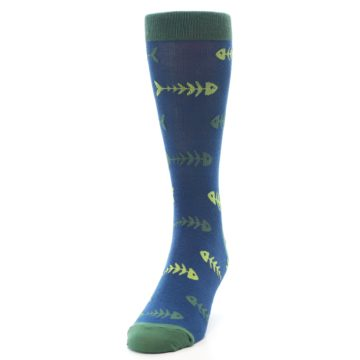 Image of Blue Green Fish Bones Men's Dress Socks (side-2-front-06)