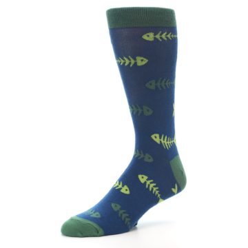 Image of Blue Green Fish Bones Men's Dress Socks (side-2-09)