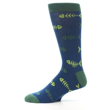 Image of Blue Green Fish Bones Men's Dress Socks (side-2-11)