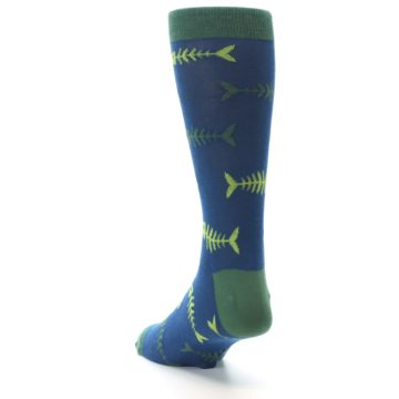 Image of Blue Green Fish Bones Men's Dress Socks (side-2-back-16)