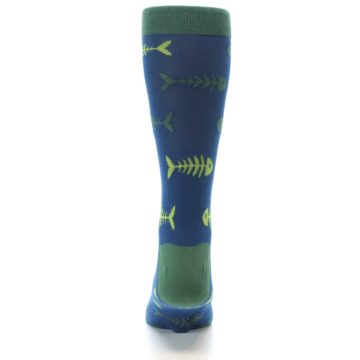 Image of Blue Green Fish Bones Men's Dress Socks (back-18)