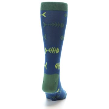 Image of Blue Green Fish Bones Men's Dress Socks (back-19)