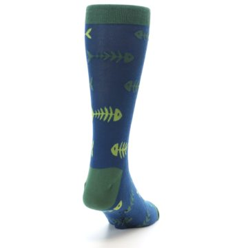 Image of Blue Green Fish Bones Men's Dress Socks (side-1-back-20)