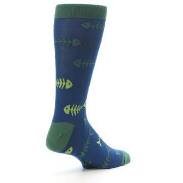 Image of Blue Green Fish Bones Men's Dress Socks (side-1-back-22)