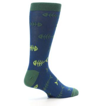 Image of Blue Green Fish Bones Men's Dress Socks (side-1-23)