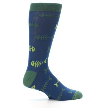 Image of Blue Green Fish Bones Men's Dress Socks (side-1-24)
