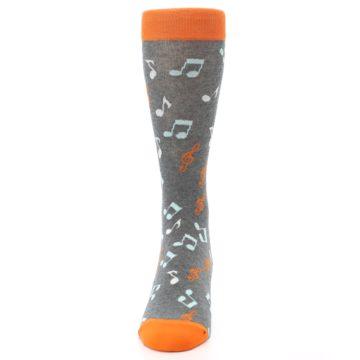 Image of Grey Orange Music Notes Men's Dress Socks (front-05)