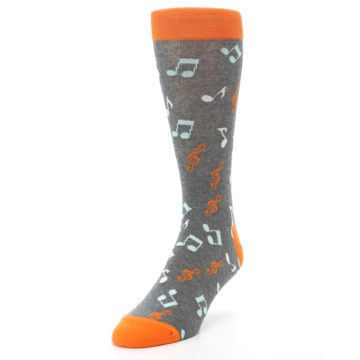 Image of Grey Orange Music Notes Men's Dress Socks (side-2-front-07)