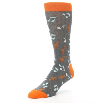 Image of Grey Orange Music Notes Men's Dress Socks (side-2-front-08)