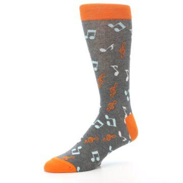Image of Grey Orange Music Notes Men's Dress Socks (side-2-09)