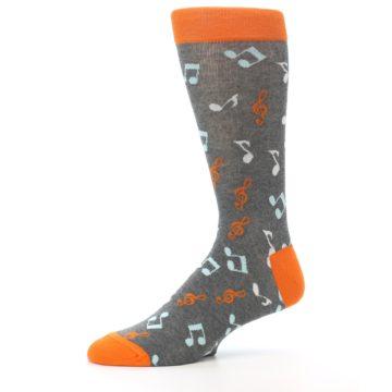 Image of Grey Orange Music Notes Men's Dress Socks (side-2-10)