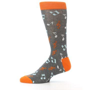 Image of Grey Orange Music Notes Men's Dress Socks (side-2-11)