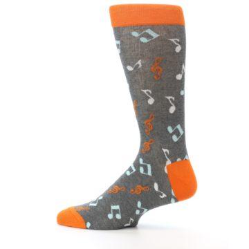 Image of Grey Orange Music Notes Men's Dress Socks (side-2-12)