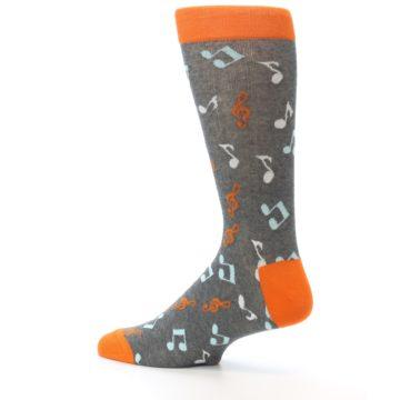 Image of Grey Orange Music Notes Men's Dress Socks (side-2-13)