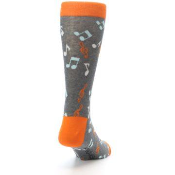 Image of Grey Orange Music Notes Men's Dress Socks (side-1-back-20)