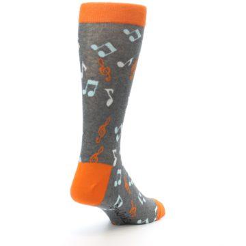 Image of Grey Orange Music Notes Men's Dress Socks (side-1-back-21)
