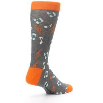 Image of Grey Orange Music Notes Men's Dress Socks (side-1-back-22)