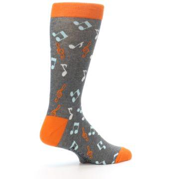 Image of Grey Orange Music Notes Men's Dress Socks (side-1-23)