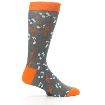 Image of Grey Orange Music Notes Men's Dress Socks (side-1-24)