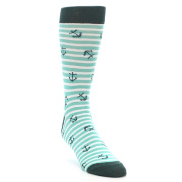 Image of Aqua White Stripes Anchors Men's Dress Socks (side-1-front-02)