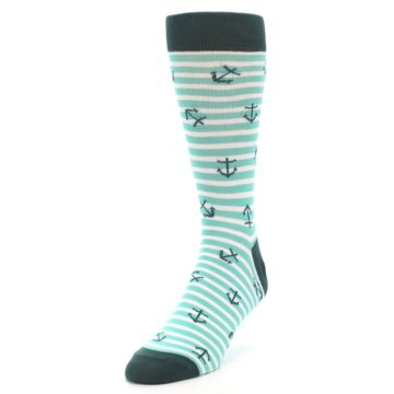 Image of Aqua White Stripes Anchors Men's Dress Socks (side-2-front-07)