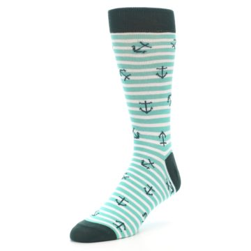 Image of Aqua White Stripes Anchors Men's Dress Socks (side-2-front-08)