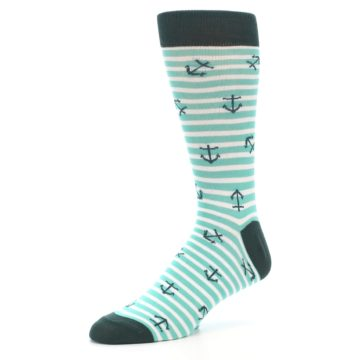 Image of Aqua White Stripes Anchors Men's Dress Socks (side-2-09)