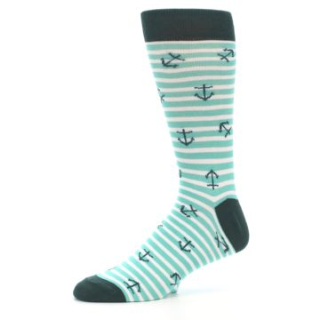 Image of Aqua White Stripes Anchors Men's Dress Socks (side-2-10)