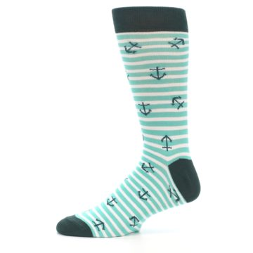 Image of Aqua White Stripes Anchors Men's Dress Socks (side-2-11)