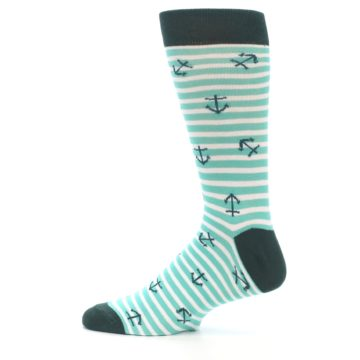 Image of Aqua White Stripes Anchors Men's Dress Socks (side-2-12)
