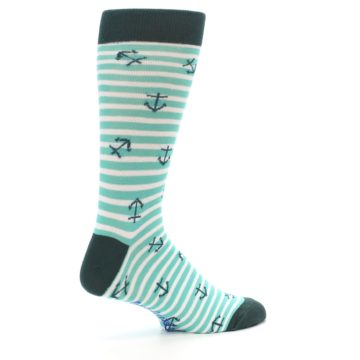 Image of Aqua White Stripes Anchors Men's Dress Socks (side-1-23)