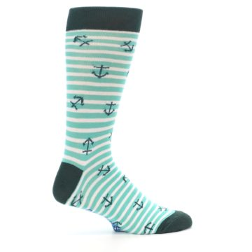 Image of Aqua White Stripes Anchors Men's Dress Socks (side-1-24)