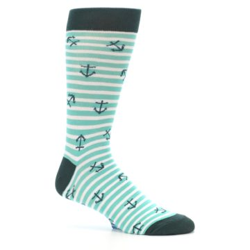 Image of Aqua White Stripes Anchors Men's Dress Socks (side-1-25)
