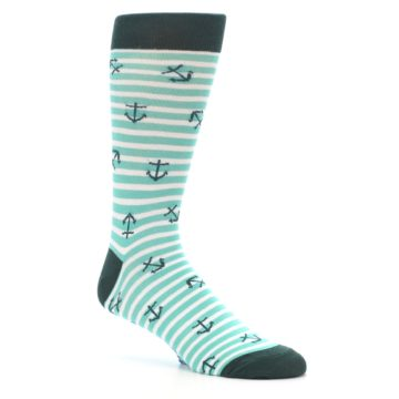 Image of Aqua White Stripes Anchors Men's Dress Socks (side-1-26)